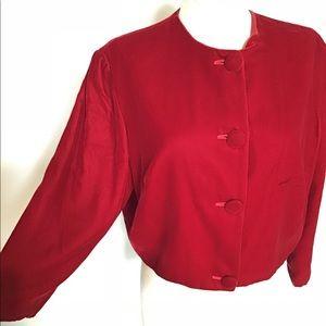 Vintage 50's Red Velvet Cropped Jacket sz M/L